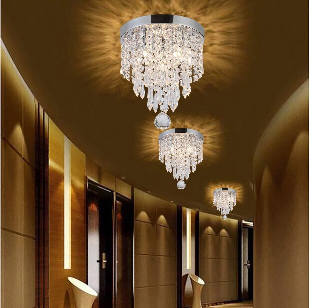 Schrank Flur M/ädchen Zimmer H10.6  x W8.6 HELIn Hochwertige Kristall Deckenleuchte Mini Kronleuchter Elegantes Design Moderne Kronleuchter 2-Licht Unterputz Leuchten f/ür Schlafzimmer Wohnzimmer
