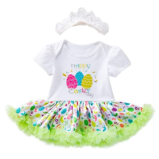 7c81fecc2c452 Amazon.com: Easter Eggs Tutu Princess Dress for Toddler Baby Girls Birthday  Party Romper+Tutu Skirt+Headband Outfit 3pcs: Clothing