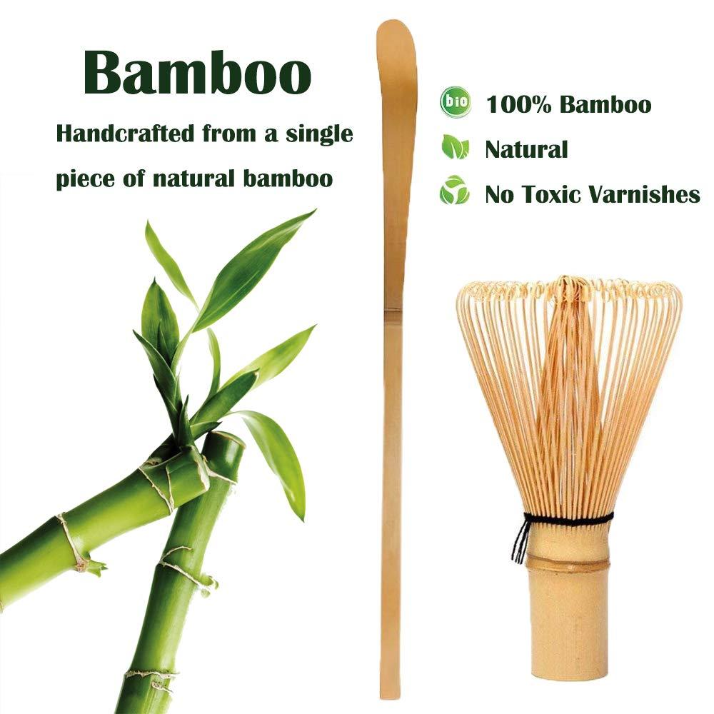 Bamboo Matcha Tea Whisk Set (Chasen) Bamboo Scoop (Chashaku) Ceramic Whisk Holder Ceremonial Starter Matcha Kit for Traditional Japanese Tea Ceremony (plum green) by LTLR (Image #5)