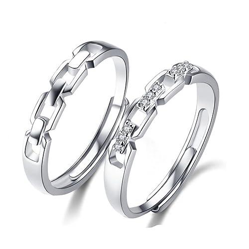 Minalo de plata de ley anillos de compromiso con piedra ajustable bonito juego de aros de