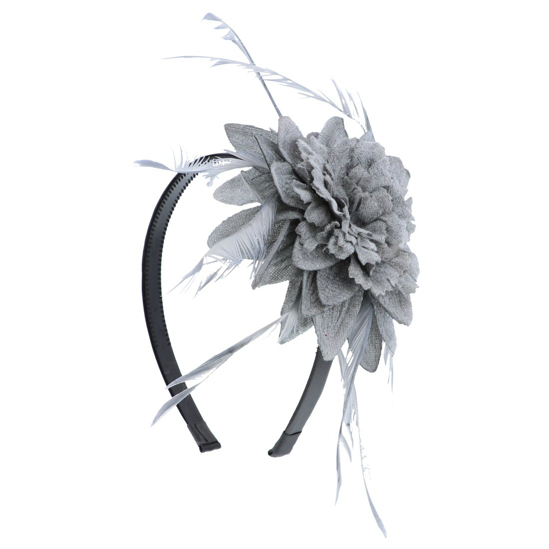 Fascinator Hat for Women Feather Cocktail Headband (Grey)