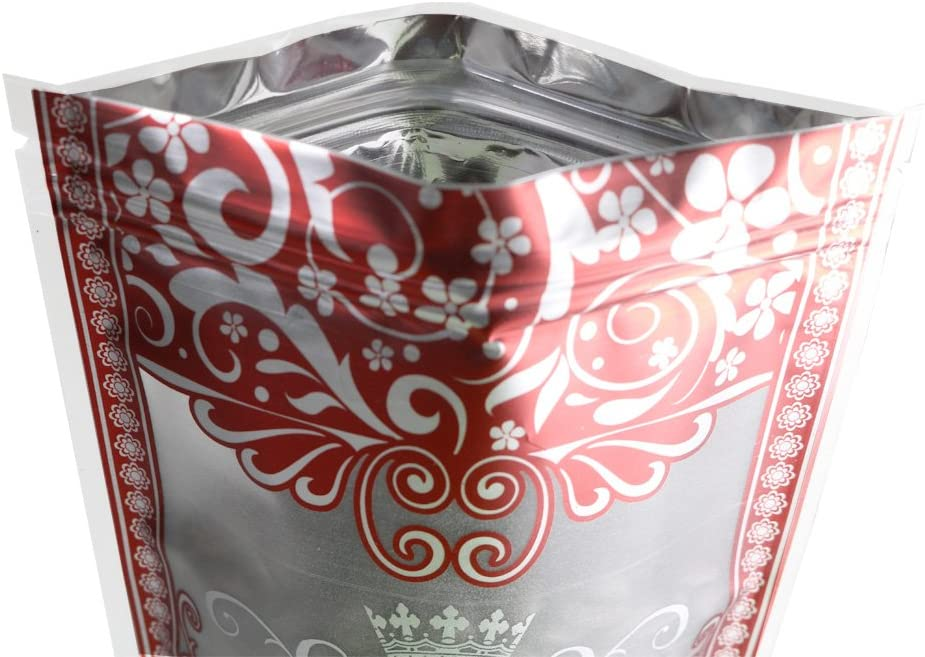 """5.5x7.8/"""" 100 Matte Ziplock Stand-Up Bags w//Red /& Silver Boarder Design 14x20cm"""