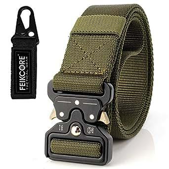 Tactical Belt Unisex Nylon Heavy Duty Waist Belt Adjustable Military Style Web Belt with Metal Buckle (ArmyGreen-009)