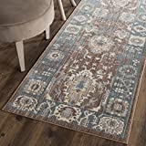 Cheap Safavieh Valencia Collection VAL122B Chocolate and Alpine Vintage Distressed Silky Polyester Runner Rug (2'3″ x 8′)