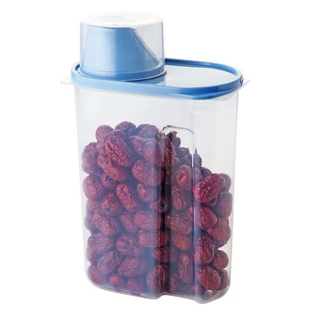 Juego de 4 recipientes de plástico para almacenamiento de alimentos en la cocina, cereales, tamaño grande de 2,5 litros, transparentes: Amazon.es: Hogar