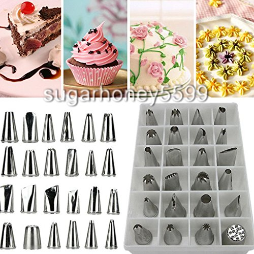 24 PCs DIY Professional Icing Piping Nozzles Pastry Tips Cake Sugarcraft Decorating Set Of Tools (Cutthroat Island Costumes)