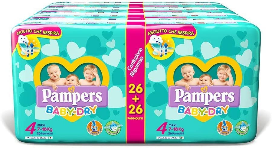 Pampers Baby Dry Duo Maxi, 208 Pannolini, Taglia 4 – Maxi (7-18 kg)