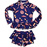 Baby Kids Girls 2 Pieces Long Sleeve Sun Protection Umbrella Print Boy-Leg Rash Guard Beach Swimwear UPF 50+ UV Swimsuit (3-4 Years)