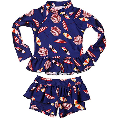 eces Long Sleeve Sun Protection Umbrella Print Boy-Leg Rash Guard Beach Swimwear UPF 50+ UV Swimsuit (5-6 Years) ()