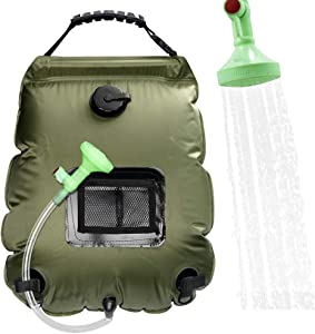 Solar Shower Bag, Camping Shower Bag 5 Gallon/20L Portable Outdoor Solar Shower Bag with Removable Hose and On-Off Switchable Shower Head for Camping Garden Beach Swimming Outdoor Traveling