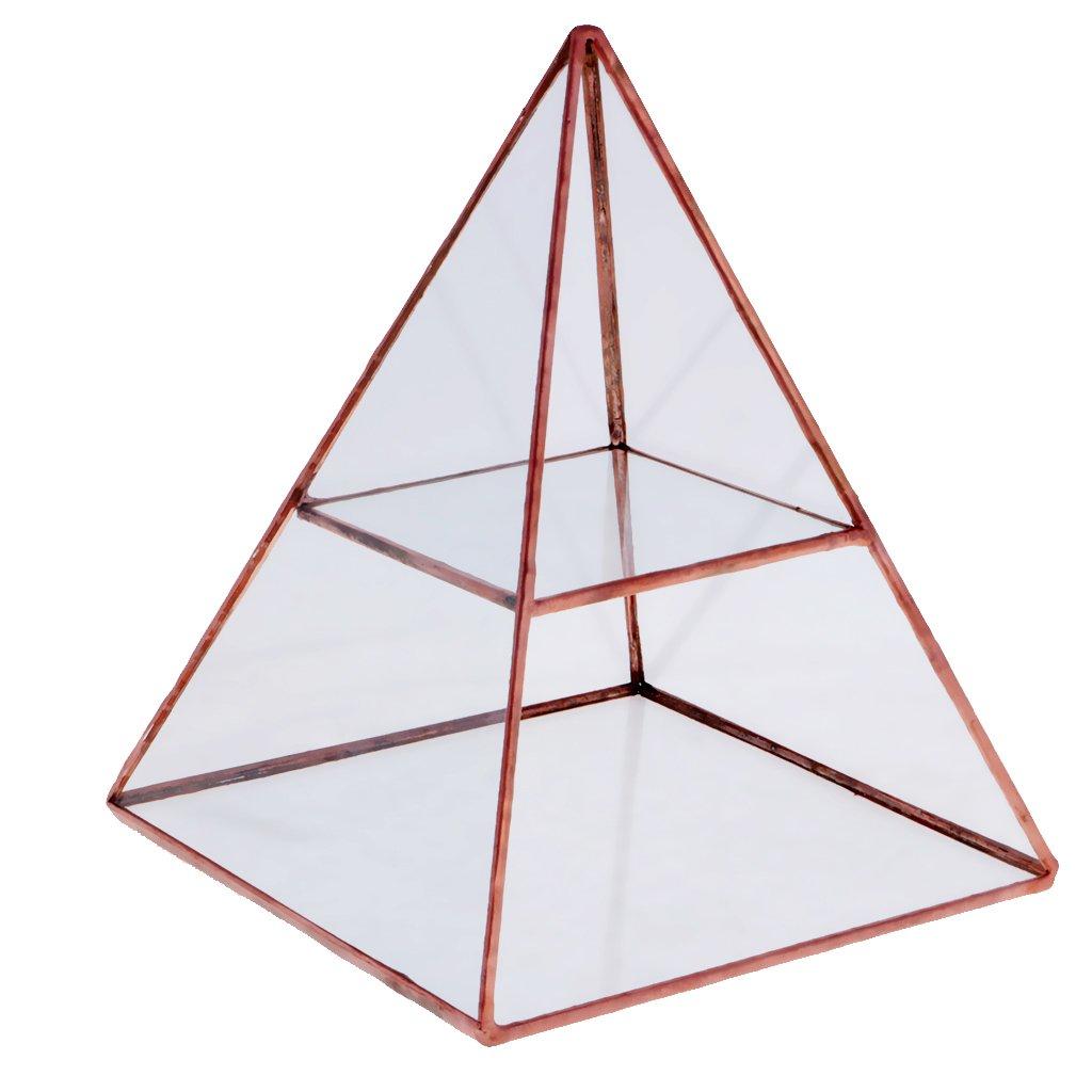 MagiDeal Piramide Di Vetro Monili Gingillo Espositore Contenitore Rame Accessorio Decorativo Mostrare