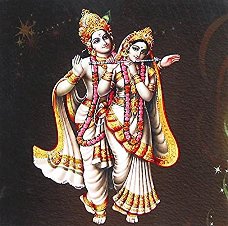 DollsofIndia Radha Playing Flute with Krishna - 6.25 x 6.25 inches - Unframed Poster (BE44) Artwork at amazon
