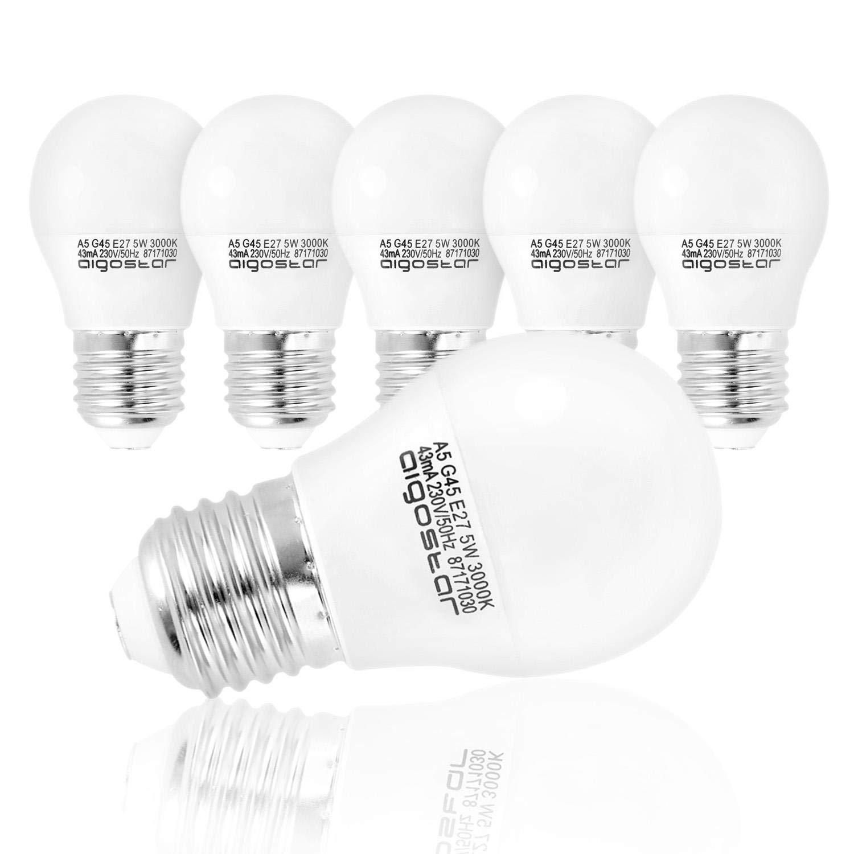 Aigostar - Bombilla LED A5 G45, E27, 5 W equivalente a 40 W, 400lm, Luz calida 3000K, no regulable - 5 unidades [Clase de eficiencia energética A+]: ...