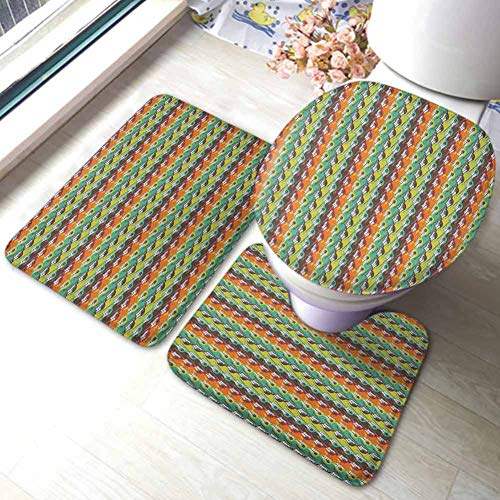 Guitar 3-Piece Bath Rug Set Abstract Stringed Instruments on Horizontal Color Borders Modern Pattern Design Non-Slip Bath Mat Rug Set Multicolor