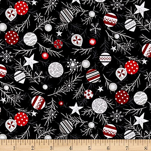 Fabri-Quilt Christmas Tossed Ornaments Grey/Red Fabric by the Yard, Grey/Red