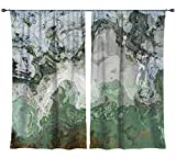 Abstract art draperies, set with two 50''x84'' panels in gray and green, River Wind