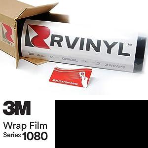 3M 2080 G12 Gloss Black 5ft x 1ft W/Application Card Vinyl Vehicle Car Wrap Film Sheet Roll