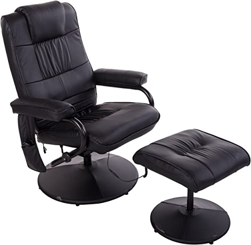 HOMCOM Massaging PU Leather Recliner and Ottoman