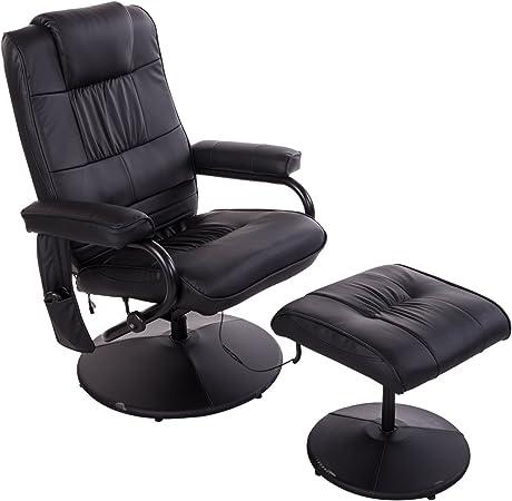 Homcom Fauteuil de Massage Relaxation électrique Chauffant inclinable 145° avec Repose Pied + Pochette télécommande Noir