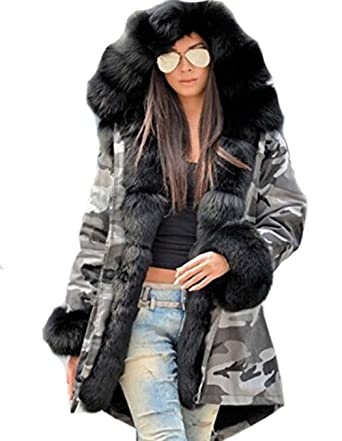 Fanala Women Thicken Faux Fur Jacket Hooded Lined Parka Coat at ... 4062946a25