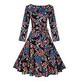 Women 1950's Long Sleeve Retro Floral Vintage Dresses with Hight Waist Design