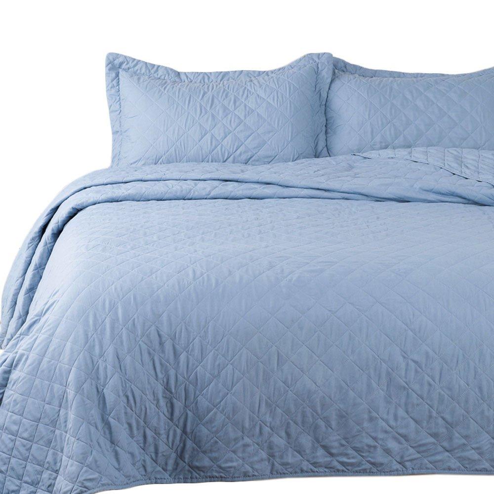 Bedsure 3-Piece Bedding Quilt Set Blue King Size 106x96 Bedspread with 2 Pillow Shams Pattern Soft Microfiber Coverlet Set