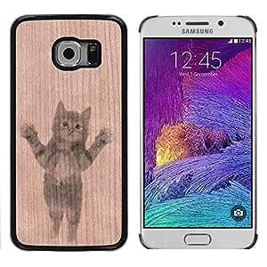 - / Cute Baby Kitten Sweet Animal Pet - - Funda Delgada Cubierta Case Cover de Madera / FOR Samsung Galaxy S6 Edge G9250 G925F / Jordan Colourful Shop/