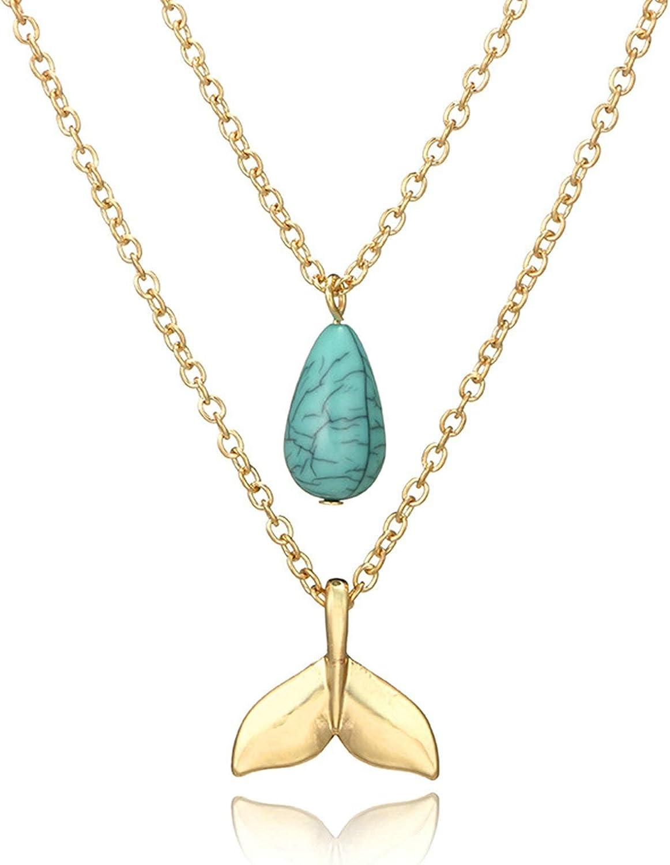Epinki Dorado Collar de Mujer Cola de Pescado Gota de Lágrima 2-Capa Cadena Forma Colgante Playa Cadena de Las Señoras Oro con Turquesa 46CM