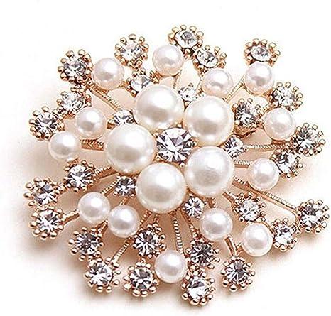 TraveT Fashion Crystal Brooch for Women Lady Snowflake Imitation Pearls Rhinestone Wedding Brooch Pin Collar Jewelry Gifts