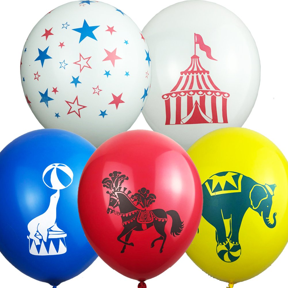 Set of 50 Carnival Circus Animals Balloons Party Supplies Decorations-Sea Lion/Horse/Elephant/Tent Balloon