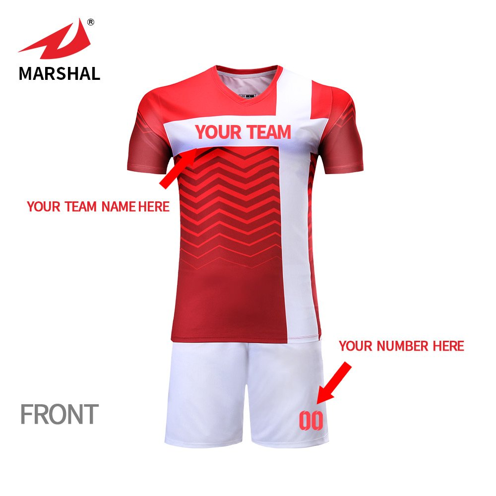 ae686fff0509 Amazon.com  Marshal Jersey Soccer Uniforms Blue and Red Jersey Design Your  Own Soccer Team Jersey (XL