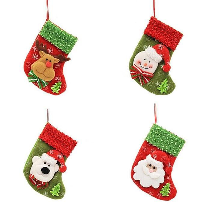 Coxeer 4Pcs Santa Media Navidad Mini Caramelo Calcetines para la Decoración del Arbol de Navidad: Amazon.es: Ropa y accesorios
