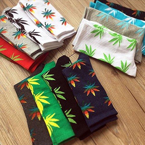 Tsptool 5 Colors Plantlife Marijuana Weed Leaf Cotton High Socks Men/women Ankle (Black)