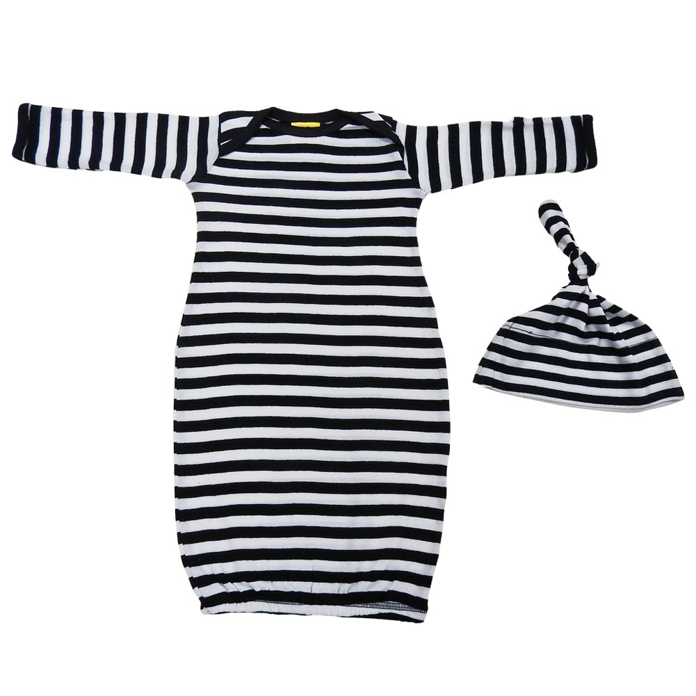 We Match! Baby Black & White Striped Layette Gown & Cap Set Super Soft Baby Outfit Prisoner Costume-BLNK