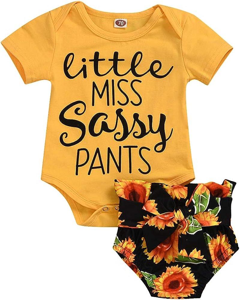 Pantalones Cortos Estampado Floral Girasol 0-18 Meses Completo Beb/é Ni/ña Verano 2 Piezas Mameluco Manga Corta Estampado Carta