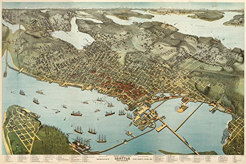 (Seattle, Washington - (1891) - Panoramic Map (12x18 Art Print, Wall Decor Travel Poster))