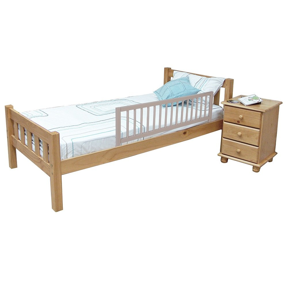 Safetots Wooden Bed Rail Grey Amazoncouk Baby