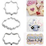 Angelduck Stainless Steel Cake Cookie Plaque Frame Cutter Mold, Oval/Rectangle/Square 3pcs