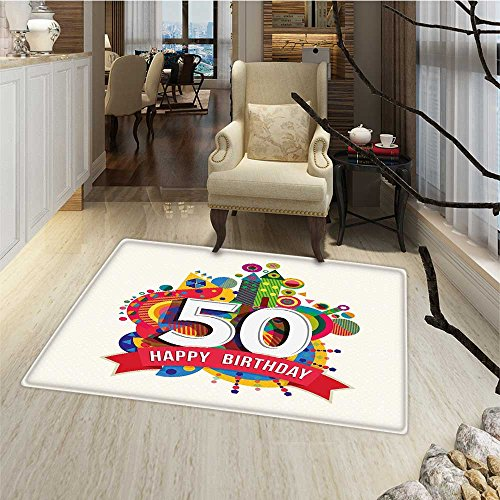 50th Birthday Floor Mat for kids Cartoon Style Colorful Pop