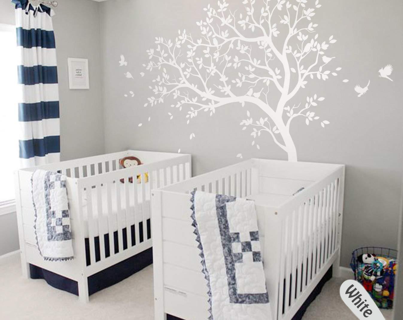 Amazon.com: Nursery White Tree Wall Decal Baby Room Tree Wall Mural Wall Decor Tattoo KW032: Handmade