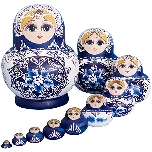 YAKELUS 10pcs Russian Nesting Dolls Matryoshka handmade1070 ()