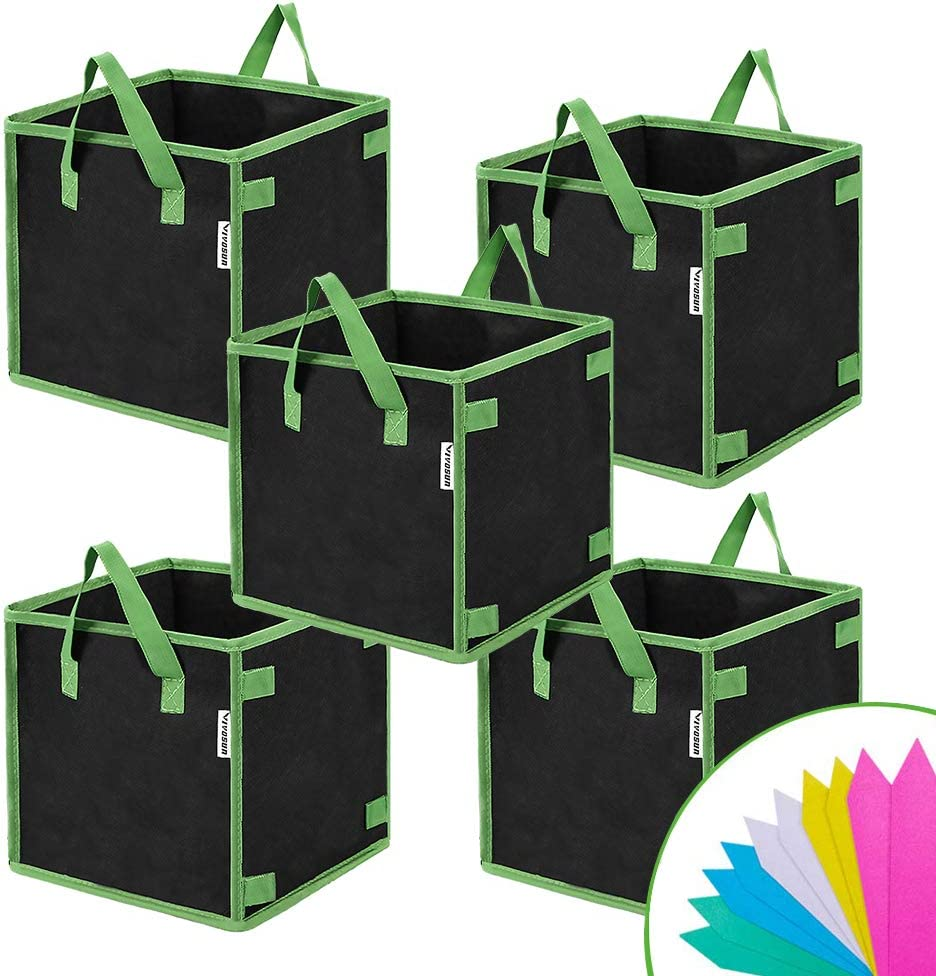 VIVOSUN 5 Pack 3 Gallon Square Grow Bags, Thick Fabric Bags with Handles for Indoor and Outdoor Garden