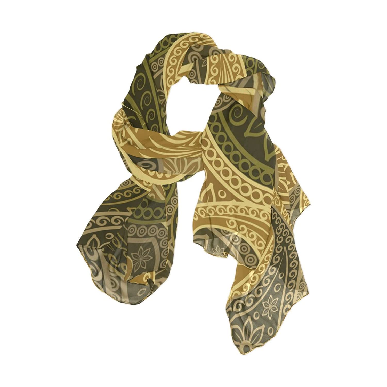 Senya Women's Fashion Large Long Sheer Silk Scarf Shawl Wrap, Paisley Pattern