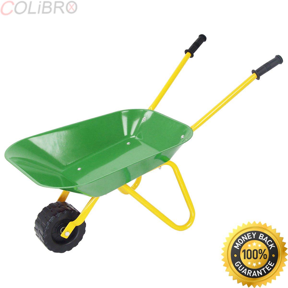 COLIBROX--Kids Metal Wheelbarrow Children's Size Outdoor Garden Backyard Play Toy Green. child size wheelbarrow. john deere childrens wheelbarrow. mini toy wheelbarrow. kids wheelbarrow for sale.