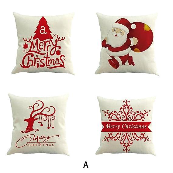 Logobeing Fundas Cojines 45x45, 4Pc Navidad Algodón Lino Sofá Coche Hogar Cintura Decorativos Cojín Cojines Para Sofa Grandes Cojines Sofa Marrones