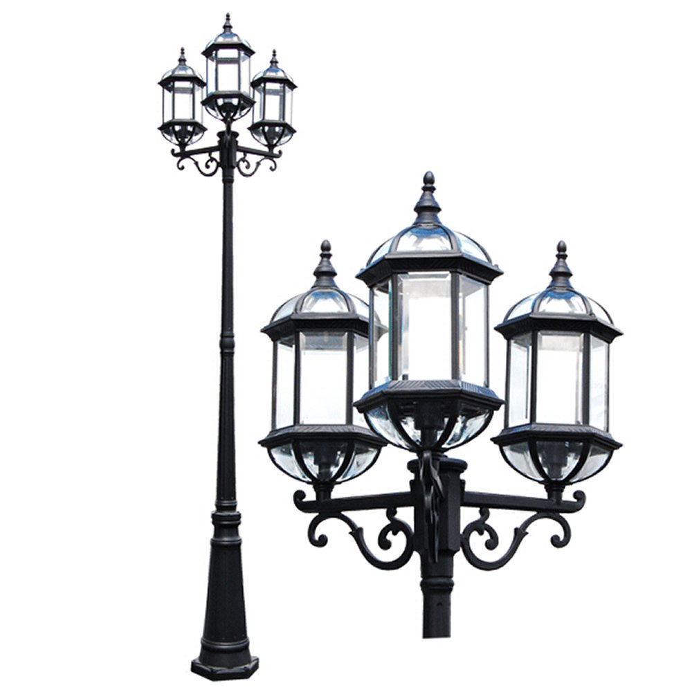 eTopLighting Contemporary Collection Exterior Outdoor 92'' Post Lantern with Beveled Clear Glass APL1022