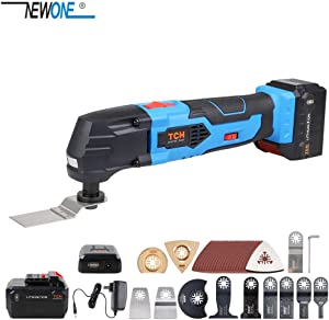 Newone 16V Lithium-Ion Cordless Oscillating Tools Multitool with LED 4000mAh Lithium battery and fast charger inc.40pcs oscillating saw blades