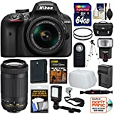 Nikon D3400 Digital SLR Camera & 18-55mm VR & 70-300mm DX AF-P Lenses 64GB Card + Case + Flash + Video Light + Battery & Charger + Tripod + Kit