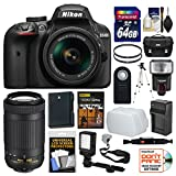 Cheap Nikon D3400 Digital SLR Camera & 18-55mm VR & 70-300mm DX AF-P Lenses with 64GB Card + Case + Flash + Video Light + Battery & Charger + Tripod + Kit