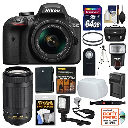 Nikon D3400 Digital SLR Camera & 18-55mm VR & 70-300mm DX AF-P Lenses with 64GB Card + Case + Flash + Video Light + Battery & Charger + Tripod + Kit